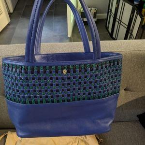 Helen Kaminski blue green woven leather tote bag